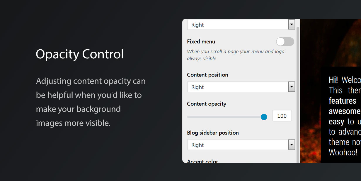 Vernissage Photography Theme Opacity Control